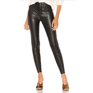 Free People High Rise Skinny Black Leather Pants